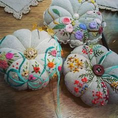 #Embroidery#stitch#needlework  #프랑스자수#일산프랑스자수#자수#호박핀쿠션 #추석연휴에 태어난  핀 쿠션 ~~