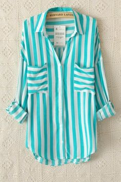 Green Stripes Two Pockets Lapel Blouse - 6ks.com