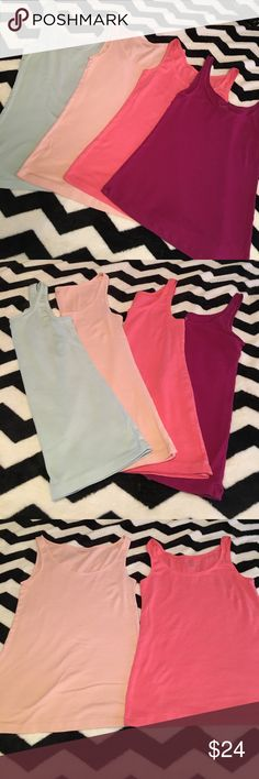 LOFT Essential Tanks LOFT Essential Set of Three Tanks in Plum, Mint, Peach and Coral. Great Condition, barely worn. Regular price of each was $14.50 LOFT Tops Tank Tops