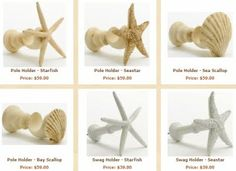 beach theme finials | ... Donna Elle's starfish and sea shell finials that I've featured here