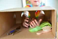 Montessori stereognostic activities for children around years - 4 years - a DIY mystery box (from How we Montessori) (Box Diy Ideas) Sensory Activities, Infant Activities, Educational Activities, Classroom Activities, Activities For Kids, Elderly Activities, Sensory Play, Montessori Preschool, Montessori Room