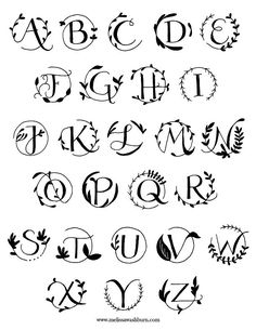 Botanical Monograms (solids) Vectors by mwashburnart on Creative Market Botanical Monograms (solids) Tattoo Lettering Fonts, Hand Lettering Alphabet, Lettering Styles, Brush Lettering, Font Styles Alphabet, Fancy Fonts Alphabet, Lettering Tutorial, Bullet Journal Ideas Pages, Bullet Journal Inspiration