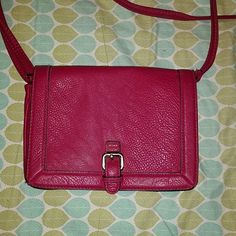Merona crossbody purse Magenta crossbody with polka dots on inside. Used a handful of times, in great condition! Merona Bags Crossbody Bags