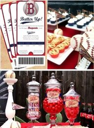 Sports baby shower. Super cute for boys or could even alter slightly for girls. Love the red white and blue with this for summertime.