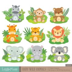Baby Wild Animals Digital Clipart - Baby Wild Animals Digital Clipart by LittleMoss on Etsy Baby Wild Animals Digital Clipart by Little - Safari Jungle, Deco Jungle, Safari Nursery, Safari Theme, Safari Party, Nursery Art, Baby Wild Animals, Safari Animals, Cute Animals