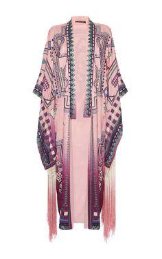 Silk Fringe Hem Kimono by ROBERTO CAVALLI for Preorder on Moda Operandi