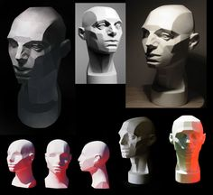 light and shadow on planes of the face - art reference