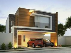 The modern home exterior design is the most popular among new house owners and those who intend to become the owner of a modern house. Residential Architecture, Contemporary Architecture, Interior Architecture, Amazing Architecture, Casas Containers, House Elevation, Front Elevation, Facade House, House Exteriors