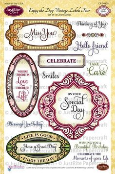 "JustRite Papercraft - Enjoy the Day Vintage Labels Four - 6"" x 8"" Clear Stamp Sets designed by Amy Tedder"