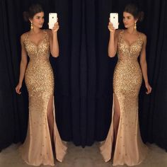 Gold Rhinestone Beaded Mermaid Evening Prom Dresses, Sexy See Through Party Prom Dress, Custom Long Prom Dresses, Cheap Formal Prom Dresses, 171011
