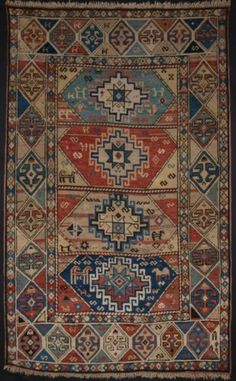 Antique Caucasian KAZAK Rug with Faded Soft Colours Small Size 2nd Half 19th C | eBay