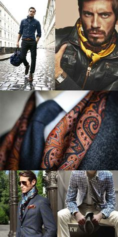 Stylish ideas on how to layer with patterned silk scarves. Stylish ideas on how to layer with patterned silk scarves. Mens Scarf Fashion, Mens Fashion Blog, Fashion Trends, Men Scarf, Men's Fashion, Mens Silk Scarves, Men's Scarves, Mens Hottest Fashion, Casual Dress Outfits
