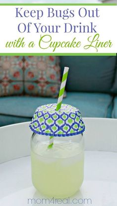 Keep bugs out of your drinks with a cupcake liner and a straw. Backyard Produce ~