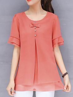 Solid Bow Casual Plus Size Frill Sleeve Chiffon Blouse Blouse Styles, Blouse Designs, Plus Size Dresses Canada, Chic Outfits, Fashion Outfits, Fashion Boots, Cheap Boutique Clothing, Discount Womens Clothing, Plus Size Leggings