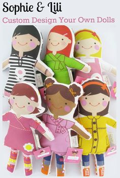 Sophie & Lili Custom Design Your Own Dolls. Pick every detail from hair color to shoes. So cute!