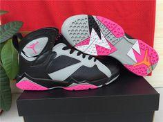 New Air Jordan 7 Black Grey Pink Shoes For Women