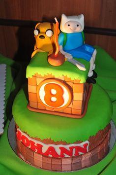 emily bakes cakes: Adventure Time / Minecraft Mashup Birthday Cake