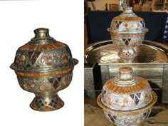 Moroccan Hammered Silver Alloy & Carved Camel Bone Centerpiece Lidded Bowl