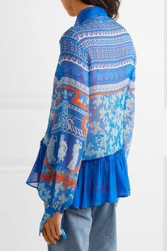 Mary Katrantzou - Transcendence Pussy-bow Printed Silk-chiffon Top - Blue - UK14