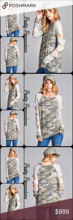"""Washed Camo Raglan Slit Sleeve French Terry Top NWT Washed Army Camo Raglan Slit Sleeve French Terry Top  Available in S, M, L Measurements taken from a small  Length: 27"""" Bust: 36""""  Rayon/Poly/Spandex  Features  • long contrast raglan sleeves w/slit accents • camo army pattern front/back • washed, soft, french terry cloth material  • relaxed, easy fit  Bundle discounts available  No pp or trades  Item # 1/102170390ACRT raglan army camo slits long sleeves washed Pretty Persuasions Tops Tees…"""