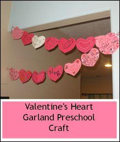 Valentine's Heart Garland #Preschool #Craft