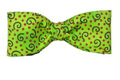 Green Bow Tie  Polka Dot and Spirals Bow Tie  Red Polka by ClassA