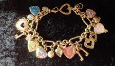 Kirks Folly Vintage Charm Bracelet Key To My Heart Rhinestone  Enamel Crystals #KirksFolly