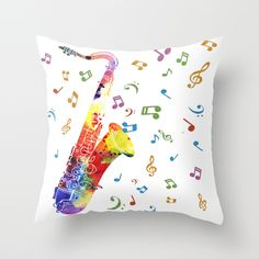 Saxophone Throw Pillow by Miss L In Art | Society6