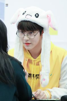 Soobin like a cute bunny aww Bts Memes, Nicknames For Girls, The Dream, Bunny Hat, K Pop Star, 2 Boys, March 4, Young Ones, 1 Girl