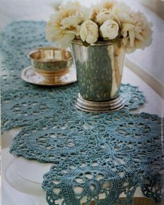 This is so pretty. Crocheted table runner.