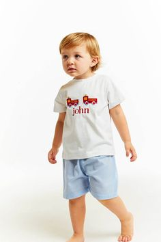 4eb1e159ad Blue Gingham Firetruck Short Set - Smocked Threads by Cecil and Lou Cecil  And Lou,