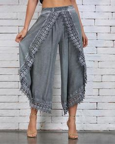 Simply Couture Gray Lace-Trim Tulip Pants - Women & Plus Loose Pants, Wide Leg Pants, Harlem Pants, Tulip Pants, Baggy, Pantalon Large, Cotton Pants, Color Negra, Fashion Pants