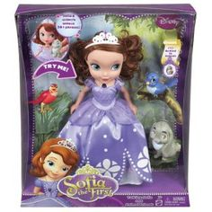 This beautiful large-scale Sofia the First doll interacts with the included animal friends: Clover the Rabbit, Mia the Bluebird and Robin the Robin - just like in the #Disney Junior series! Sofia is a top #Christmas toy for 2013.