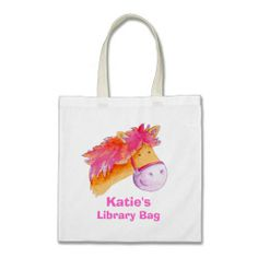 Pony bag pink orange & cream tote library bag  Click on photo to purchase. Check out all current coupon offers and save! http://www.zazzle.com/coupons?rf=238785193994622463&tc=pin