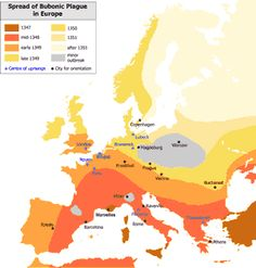 Spread of Bubonic Plague in Europe century. The Black Death spread rapidly along the major European sea and land trade routes. Middle Ages History, History Of Earth, European History, Primary History, Teaching Social Studies, Student Teaching, Medan, Medieval, Black Death