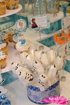 Olaf lollipops at a Frozen Birthday Party!  See more party ideas at CatchMyParty.com!