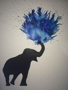 Elephant melted crayon art with Sarah
