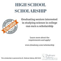 HIGH SCHOOL SCHOLARSHIP:  High school seniors going to college and interested in studying science can apply to win a scholarship. Learn more and apply at our website. Good luck!
