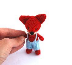 miniature fox stuffed woodland animal by tinyworldbycrochAndi