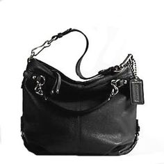 Coach Brooke Leather Carly Shoulder Hobo Bag Purse Tote 14112 Black: Clothing