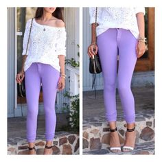 "• Arriving Soon • Lavender is such trendy, hot and in-style color right now! These skinny Jeggings pair perfect with any tunic or sweater. Ultra comfy and stretchy. 95% cotton, 5% spandex. Measurement: Waist flat across: S=12"", M=13"", L=14"", XL=15"". Hips: S=16"", M=17"", L=18"", XL=19.   Runs a size small, please go one size up! Model is wearing a M. Inseam 31"".  No trades. PLEASE DO NOT purchase this listing. Comment below what size you need and I'll make you a listing Jennifer's Chic Boutique…"