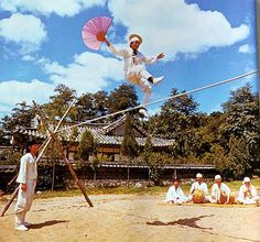 Tightrope walking is a widespread form of entertainment that in most countries focuses purely on acrobatic skill.