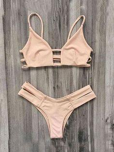 Two Piece Bandeau Plain Pink Bikini Set Badeanzug, Bademode, Kleidung,  Halter Bikini, 2e02c65f71