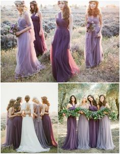 Mismatched purple and lavender bridesmaid dresses. Gowns from Jenny Yoo. I love that they are convertible!