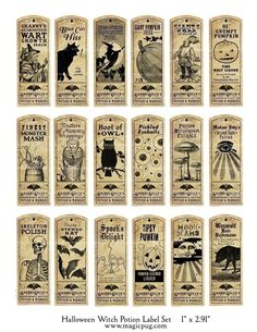 Halloween Witch Potion Label digital collage sheet bat cat holiday wicca 1x3 27mm x 73mm labels