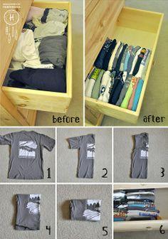 Smart folding for your limited dresser space.  Dorm room décor.