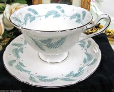 SHELLEY TEA CUP AND SAUCER SERENITY PATTERN LEAF TEACUP GAINSBOROUGH:)