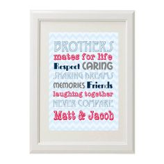 Brothers Personalised Art Print, created not just for siblings but best mates #brothers #best mates #brothers art