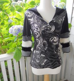 Upcycled Hooded T Shirt Festival Small Houndstooth by ThankfulRose, $60.00