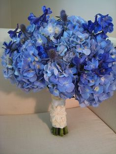 Blue Hydrangea Blue Delphiniums Blue Thistle Bouquet  minus the thistle, this is the brides maids bouquet
